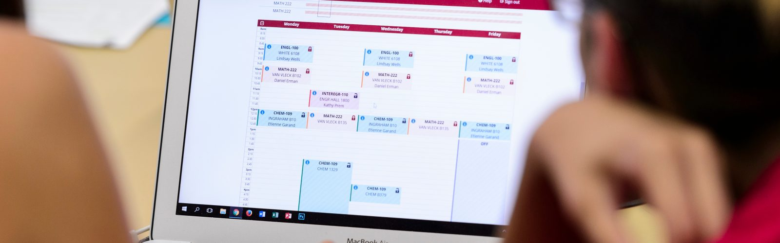 course schedule on computer